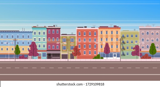 City facade buildings town street panorama concept. Vector flat graphic design cartoon illustration
