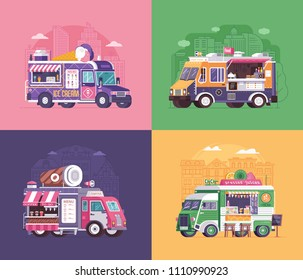 City fast food trucks and wagons set in flat design. Ice cream parlor, coffee van and summer juice caravan backgrounds. Street food festival cars with drinks and snacks on wheels.