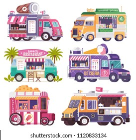 City fast food trucks and wagons set in flat design. Ice cream parlor, coffee van, beach bar, popcorn cart and summer juice caravan. Street food festival cars with drinks and snacks on wheels.