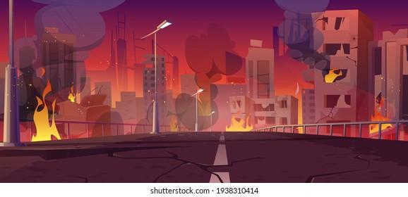City in fire, war destroy burning buildings bridge