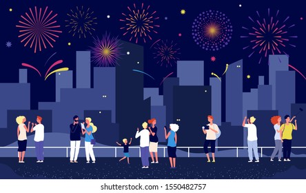 City fireworks. People celebrate on street and watching fireworks. Happy vector men women child, night pyrotechnic show in downtown