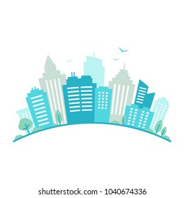 City fisheye lens styled panorama. Urban landscape. Blue city silhouette view. Cityscape in flat style. Modern round shape city landscape. Cityscape backgrounds. Vector illustration