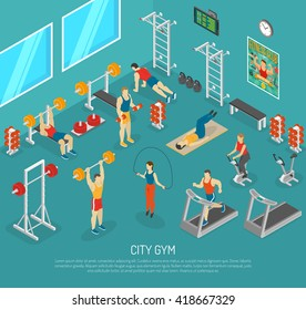 City fitness workout gym center with equipment for strength and cardio exercises isomeric poster abstract vector illustration