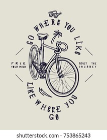 City fixed gear bicycle stylish print. Go where you like - like where you go.
