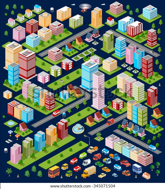 City flat 3d isometric objects. Three-dimensional perspective of architectural details. Skyscrapers and buildings in an top view. Volumetric architecture. Kit modern town. Set of design elements.