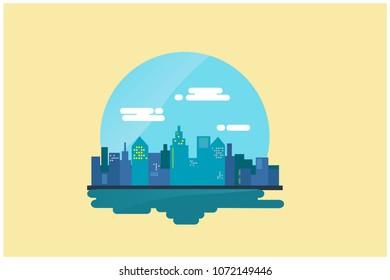 City flat design. city background vector illustration. skyline vector illustration