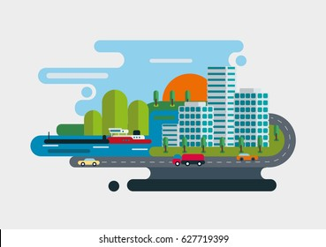 City flat vector geometry shape. Concept illustration