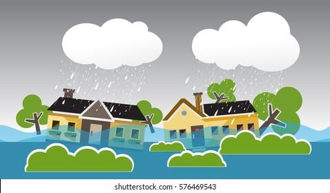 city ??flood flooding water in city street , falling tree