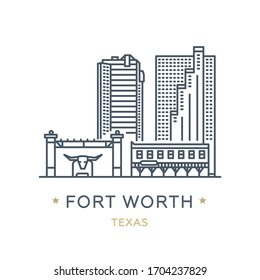 City Fort Worth, state of Texas. Line icon of famous and largest city of USA. Outline icon for web, mobile and infographics. Landmarks and famous building. Vector illustration, white isolated.