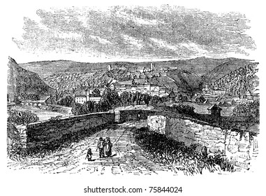 Besan?on, city, Franche-Comte , France, old engraved illustration of the city, Besancon,France.