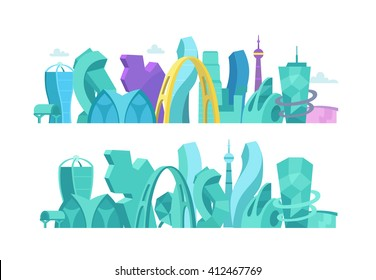 City future. building skyscraper An unusual non-standard architecture landscape