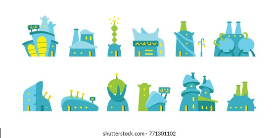 City future fantastic cartoon modern building town. Set of alien buildings for game design. Vector stock illustration. Blue and green