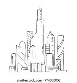 City future. Hand drawn vector sketch illustration. Building skyscraper architecture landscape. Very tall buildings. Business center.