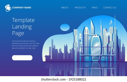 City of the future skyscrapers at dawn. Vector illustration in blue colors. Template for the first landing Page screen.