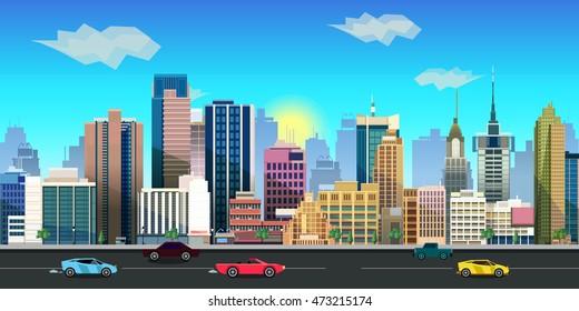 city game background 2d  application. Vector design.