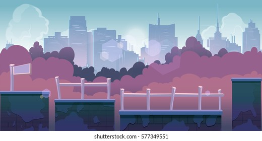 city game background, 2d game application. Vector Illustration for your application