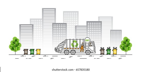 City garbage truck vector illustration. Refuse vehicle with dustman and garbage bags line art concept. Sanitation car (collector vehicle) with recycle sign and dustbins graphic design.