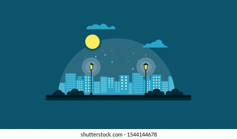 City garden at night illustration. Night city vector illustration. Dark urban scape. Night cityscape in flat style. Simple landscape of park at full moon night