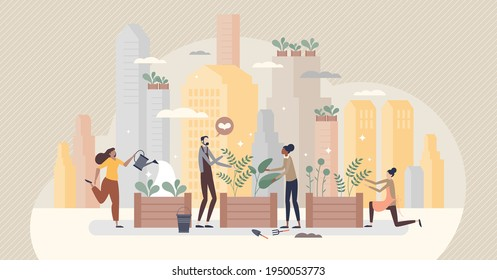 City gardening as plants agriculture ir urban environment tiny person concept. Ecological, organic and sustainable farming lifestyle in parks for fresh and green grocery production vector illustration