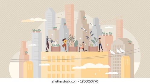 City gardening and plants agriculture on urban building rooftops tiny person concept. Ecological, green and environmental lifestyle with local grocery, greens and vegetables usage vector illustration.