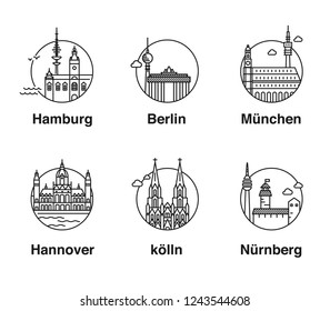 City in Germany. Simple landmark travel icons of german cities of Berlin, Hamburg, Munich, Hannover, Köln and  Nuermberg in line art style in a circle.