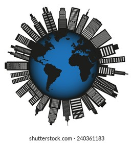 City globe silhouette