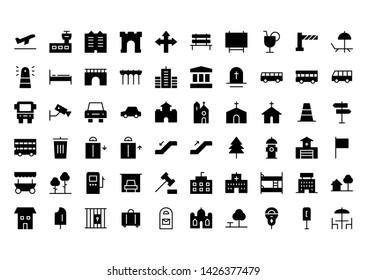 City glyph icon symbol set