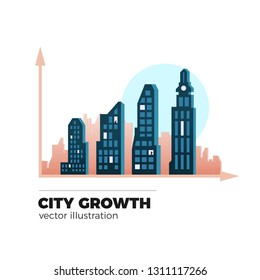 City growth vector. Urbanization illustration. Graph chart with buildings as a bars. Isolated on white background, flat style.