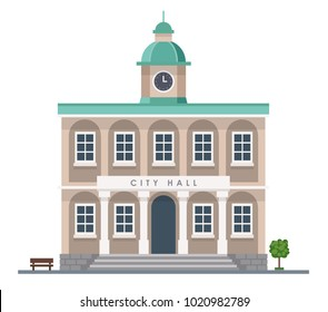 City hall building in flat style isolated on white background - Urban architecture.  Vector illustration design template