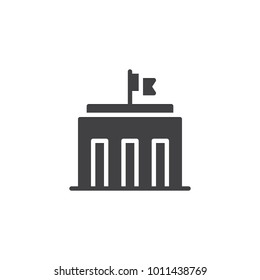 City hall building icon vector, filled flat sign, solid pictogram isolated on white. Capitol symbol, logo illustration.