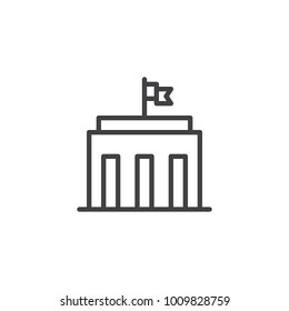 City hall building line icon, outline vector sign, linear style pictogram isolated on white. Capitol symbol, logo illustration. Editable stroke
