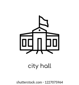 City hall icon. Trendy modern flat linear vector City hall icon on white background from thin line Architecture and Travel collection, editable outline stroke vector illustration