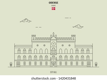 City Hall in Odense, Denmark. Landmark icon in linear style