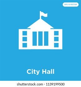 City Hall vector icon isolated on blue background, sign and symbol, City Hall icons collection