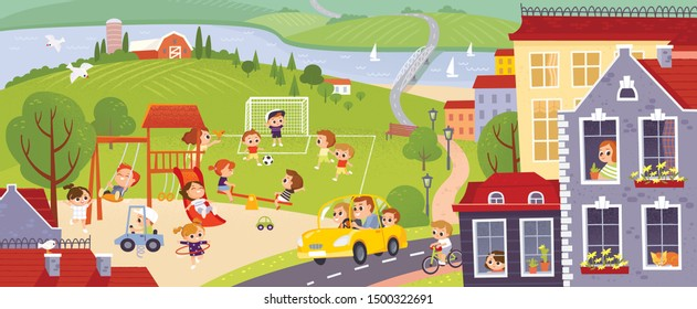 City with happy kids playing in the yard. Landscape with colorful european city, green fields, river. Kids summer activities outdoors. Green colorful city background.