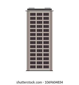 City high-rise building front view in flat style isolated on white background. Modern apartment or office building exterior with windows for real estate and property concept. Vector illustration.