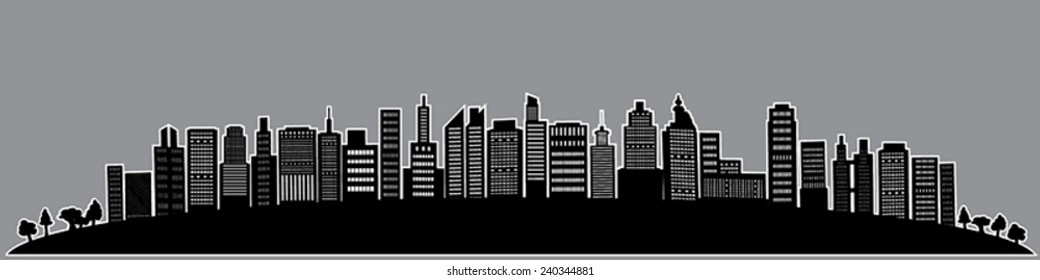 City hilltop silhouette illustration