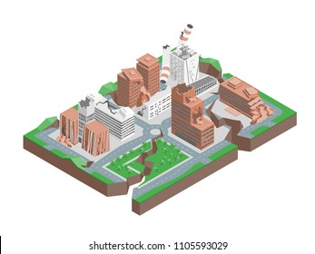 City Hit Earthquake Concept 3d Isometric View Cracking buildings, Damage and Accident. Vector illustration of Natural Disaster Destruction