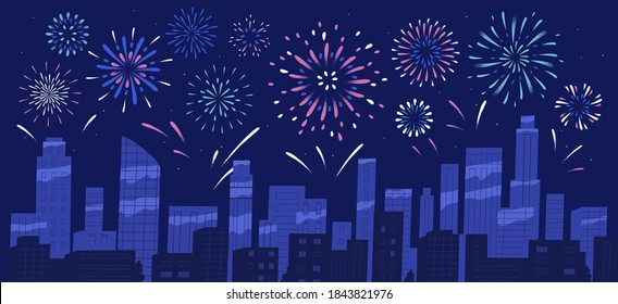 City holiday celebration panorama with bright festive firework show. Night sky of megapolis with sparkling bursting and exploding firecrackers. Flat vector cartoon colorful illustration.