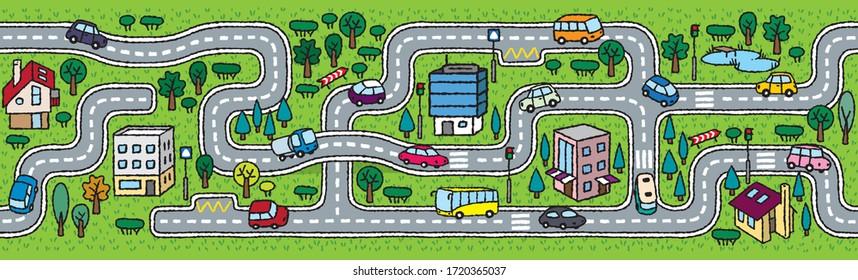City horizontally seamless pattern. Roads, cars, grass areas background