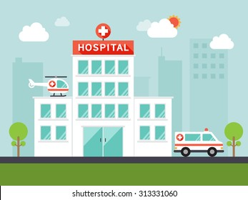 City hospital building with ambulance and helicopter in flat design. vector.