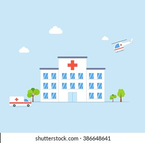 City Hospital building with ambulance and helicopter in flat design style on blue background. Clinic Vector Illustration