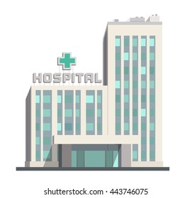 City hospital building icon on white background. Isolated object in flat cartoon style. Vector illustration.