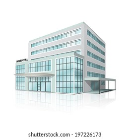 city hospital building in perspective on white background