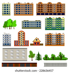 City houses set. Colorful, flat homes or buildings icon collection. Vector illustration.