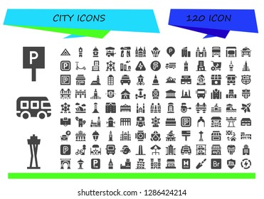 city icon set. 120 filled city icons. Simple modern icons about  - Parking, Space needle, Bus, Louvre, Big ben, Hydrant, Food cart, Dolmen, Saint paul, Bayterek, Building, Petronas