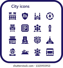 city icon set. 16 filled city icons.  Simple modern icons about  - Notre dame, Roma, Chartres cathedral, Energy, Subway, Parking, Atomium, Big ben, Store, Skyscraper, Barcelona