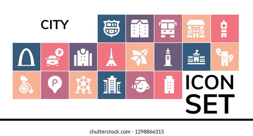 city icon set. 19 filled city icons. Simple modern icons about  - Barcelona, Gateway arch, Unicycle, Parking, Atomium, Building, Portuguese, Police station, Tokyo, Thai kite