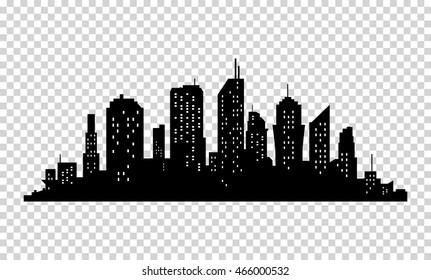 City icon. Vector town Silhouette illustration. Skylines. Skyscraper