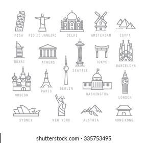 City icons in flat style with names Pisa, Rio, Delhi, Amsterdam, Dubai, Athens, Seattle, Tokyo, Barcelona, Berlin, Washington, Paris, London, Sydney, New York, Hong Kong